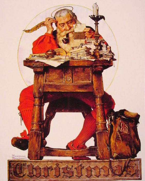 """Christmas Santa Reading Mail"", by Norman Rockwell"